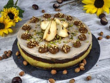 Zuckerfreie Herbsttorte mit Birnenpudding