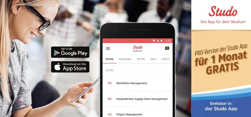 Pro-Version der Studo App für 1 Monat gratis