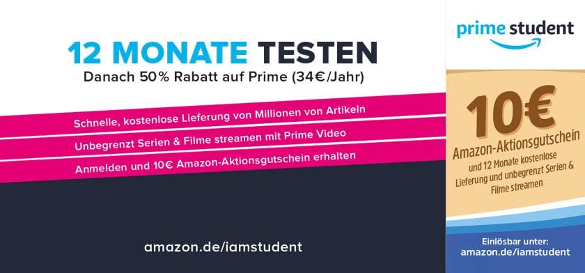 10€ Amazon-Aktionsgutschein und 12 Monate kostenlose Lieferung und unbegrenzt Serien & Filme streamen
