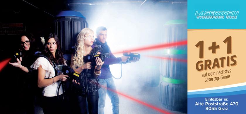 1+1 gratis auf dein nächstes Lasertag-Game