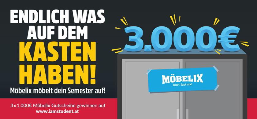 Möbelix möbelt dein Semester auf! Gewinne 3.000€ Möbelix-Gutscheine!