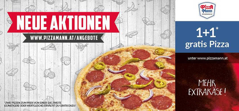 1+1 gratis Pizza