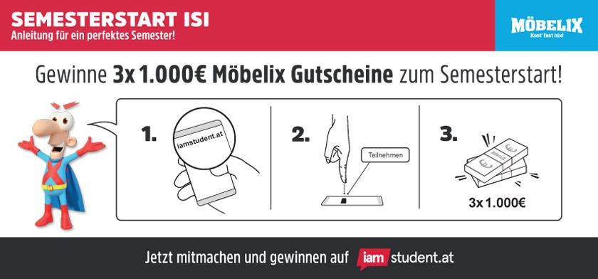 Semesterstart-Gewinnspiel: 3.000€ Möbelix Gutscheine