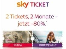 Zwei Monate Sky Entertainment & Sky Cinema für einmalig 9,99€ bei Sky Ticket